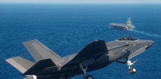 На відео показали, як американський винищувач F-35 ледь не впав у воду після зльоту