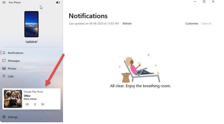 """Додаток """"Ваш телефон"""" на Windows 10 тепер дозволяє керувати відтворенням музики на телефонах Android"""